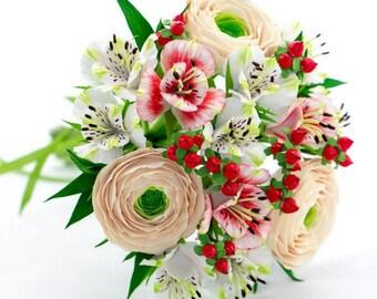 "Wedding bouquet ""Red-cream"" Bouquet of the bride Wedding Hand bouquet Bouquet from clay"