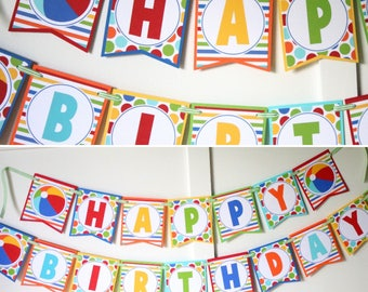 Beach Ball Birthday Banner - Pool Party Birthday Decorations Fully Assembled - Beach Ball Summer Birthday Party Banner