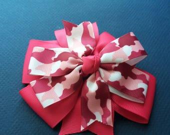 Pink Camo Pinwheel Bow