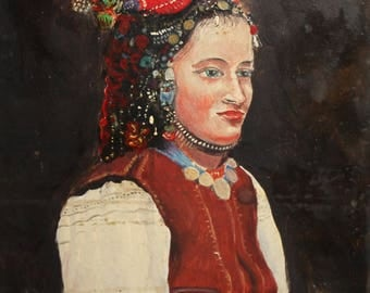 Vintage oil painting woman with folk costume portrait