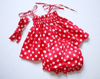 Mickey Bloomers Minnie Mouse Top and Bloomer polka dot top bubble bloomers Mickey halter top bubble shorts Polka dot bloomers red polka dot