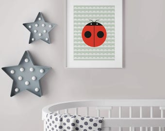 Printable Nursery Art, Lovely Ladybug, Cute Nursery Decor, Digital Download Kids Print, Girl & Boy Room Art, Digital Art