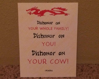 Dishonor On Your Cow Quote Wall Art