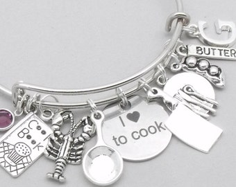 I Love To Cook charm bracelet   cooking bracelet   chef bracelet   chef gift   personalsied cook bracelet   cooking gift   initial letter