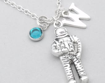 Astronaut monogram necklace | astronaut charm necklace | astronaut pendant | personalised space man necklace | astronaut jewelry