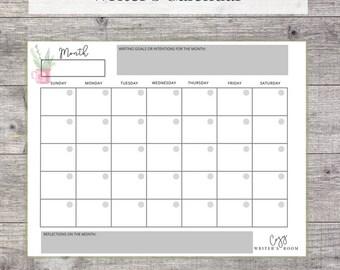 Writer's Calendar - Creative Writing Printable Worksheet, Blank Calendar for Writers, US Letter, Instant Download, PDF