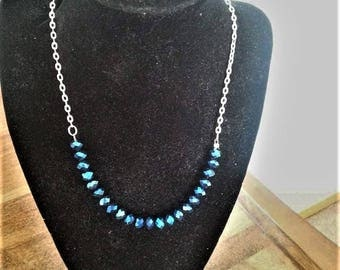 Blue iridescent beaded necklace