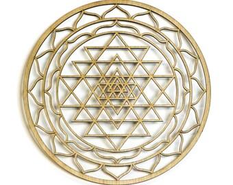 "12"" Sri Yantra, Hindu Tantra, wooden wall art hanging home decor, sacred geometry art, wood sculpture, wall decorations, USA made geometric"
