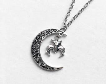 Moon and Bat Necklace | Bat Jewelry | Gothic Necklace | Crescent Moon Jewelry | Bat Gift | Halloween Jewelry | Goth Pendant