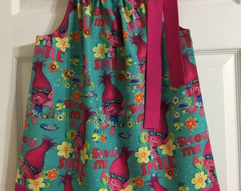 Girls Handmade Trolls Poppy Smile Pillowcase Dress