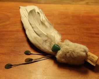 Native American shamanic art coloring flap feather fan, Wicca wiping fan, Sage, szamanizm, indianskie, pióra, okadzanie, oczyszczanie