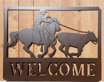 SALE! 20% OFF! Roping Welcome Metal Art Sign