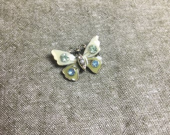 Vintage enamel butterfly pin brooch with crystals
