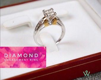 0.5 ctw, 14K Princess Cut Engagement Ring - Genuine Diamond, White Gold, Yellow Gold - Wedding Ring