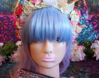 Unicorn/Flower Headband-Headpiece/Crown/Kawaii/Lolita/BoHo-Fairy (Feisty Pink Ombre Rose)