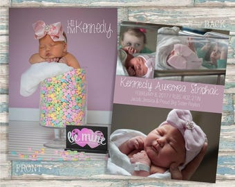 Birth Announcement, Baby Announcement, Boy or Girl Announcement, Printable Photo Card - Hi I'm...