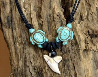 Necklace tooth shark pendant surfer chic boho 2 turtles turquoise howlite wood coconut carved bone adjustable black cord