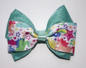 Unicorns, Rainbows, and Sparkles Double Boutique Hair Bow