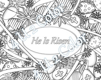 He is Risen - Easter Eggs & Ribbon - #1, coloring page, Easter coloring page, adult coloring page, printable coloring page,downloadable page
