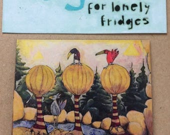 Magnets For Lonely Fridges,Painting,  Magnets, Aimants,art, illustration,Madeleine Marin Craig