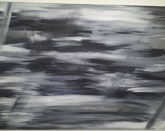 Black and Gray Acrylic Painting