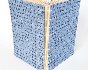 Blue Cross Pattern Coptic Stitch Journal Sketchbook Hardcover