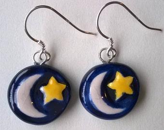 Ceramic and silver handmade earrings
