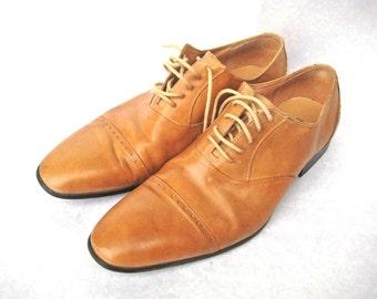 DAVINCI Classic Men's Oxfords Brown Leather Size 8,5