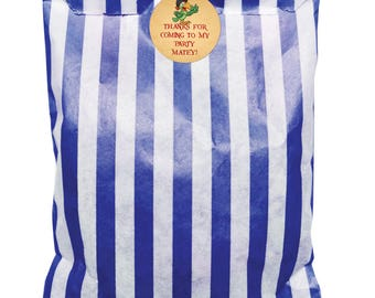 Dark Blue & White paper party bags and 30mm Pirate Theme! - 24 of each
