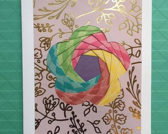Greeting card, without text, mother's day, flower, stationery, paper folding, Koszi Cards