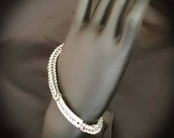 Inspiration, Believe, Chain Maille, Chain Mail, Inspirational Stainless Steel Chain Maille Bracelet, Box Weave, Handmade