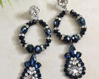 Blue and Crystal Chandelier earrings,Gift for Her, Prom Earrings, Wedding Bridesmaids Earrings