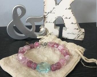 Pink and Teal bracelet