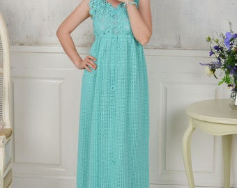 IRIA hand-crocheted designer Greek-style pinafore summer dress from cotton. Made to order