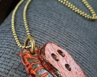 pauduk wood ghost pendant. wood, charms,pendant, handmade,necklace