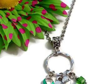 Green Awareness Ribbon Charm Necklace - Lyme Disease Liver Cancer Kidney Disease Cerebral Palsy Bipolar Disorder
