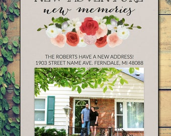 Moving Announcement - New Home, New Adventure, New Memories Floral