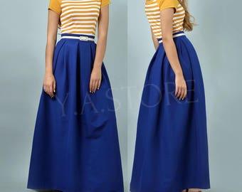Blue Pleated Maxi Skirt Woman Custom Made Long Skirt