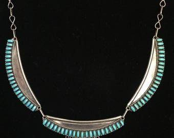 Vintage Native American Zuni E. L. Lonasee Turquoise and Sterling Necklace
