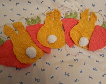 Hand knitted bunny and carrot bunting