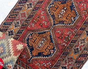 Vintage Persian Rug QASHQAI Rug Handwoven Wool Rug Full Pile Persian Rug 1940's