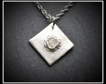 Silver Square Detailed CZ Pendant - Silver Precious Clay (PMC), Handmade, Necklace - (Product Code: ACM067-17)