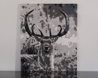 Acrylic on wood panel, deerskin popart, gray tones, picture