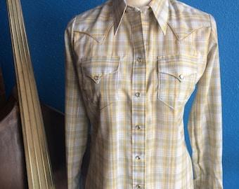 NOS Women's Rockmount Plaid Western Shirt.  Pearl Snap.