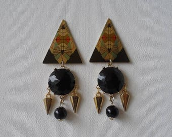 Abstract triangular spike earrings
