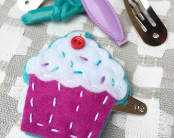 Cupcake Hair Clip- Purple & Blue