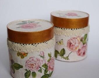 Flower jar, glass jar, decoupage jar, resycle jar, storage jar, decorated jar, for girls, for her, flowers, gift