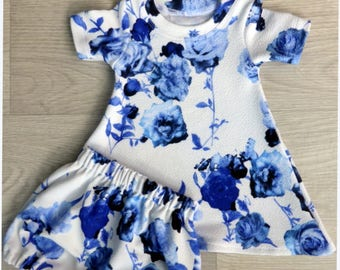 blue and white floral, dress, bloomers, baby set, girls clothing, stretch cotton