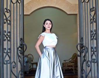 Patoleada silver vinyl skirt