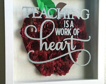 Teachers gift Rose apple shadow box